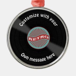 Registro de vinil personalizado ornamento redondo cor prata