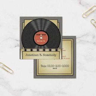 Registro de vinil retro da rocha cartão de visitas quadrado