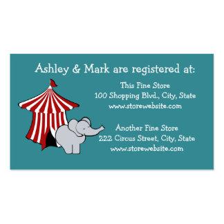 Registro do chá de fraldas do circo modelo cartões de visitas
