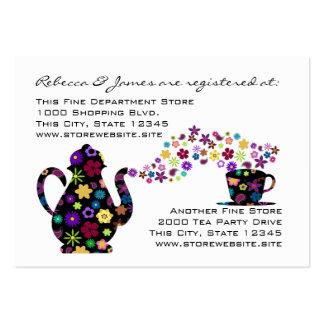 Registro floral do chá de panela do tea party cartão de visita grande