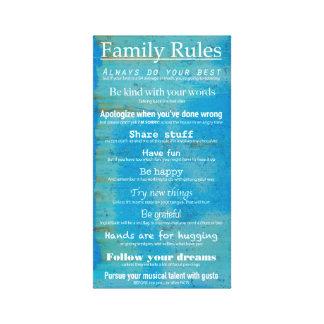 Regras da família - impressão esticado das canvas