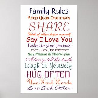 Regras da família para o poster do amor e da vida