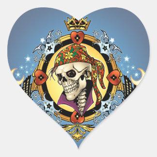 Rei Crânio Pirata com corações pelo Al Rio Adesivo De Coração