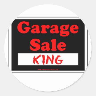 Rei da venda de garagem adesivo em formato redondo