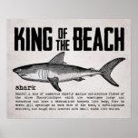 Rei do tubarão do vintage do poster da praia
