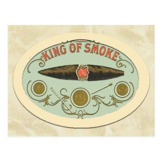 Rei dos amantes do charuto da etiqueta do tabaco cartão postal