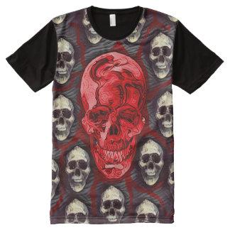 Rei fantasma Escuro Horror Arte do crânio de Camiseta Com Impressão Frontal Completa