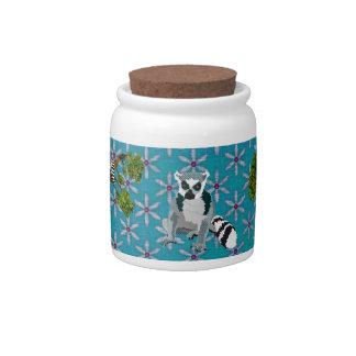 Rei Jules pote de doces floral azul dos Lemurs