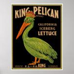 Rei Pelicano Marcagem com ferro quente Alface Pôsteres