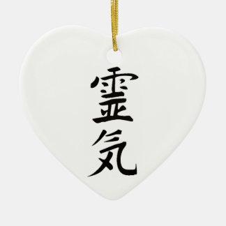 Reiki do coração ornamento de cerâmica coração