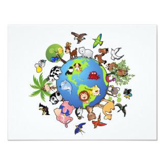 Reino animal calmo - animais em todo o mundo convite 10.79 x 13.97cm