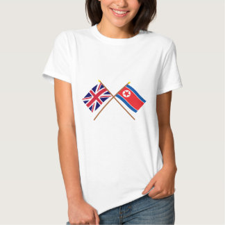 Reino Unido e bandeiras cruzadas Coreia do Norte Tshirt