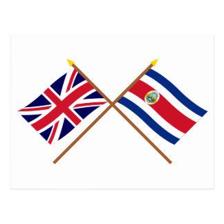 Reino Unido e bandeiras cruzadas Costa Rica Cartão Postal