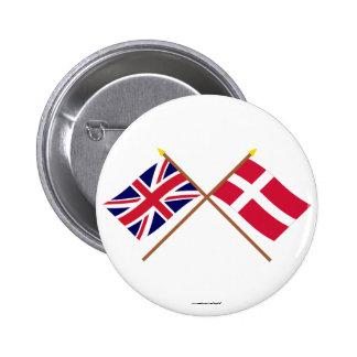 Reino Unido e bandeiras cruzadas Dinamarca Pins