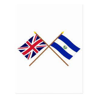 Reino Unido e bandeiras cruzadas El Salvador Cartão Postal