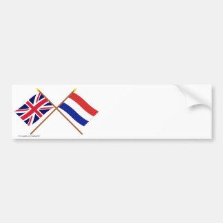 Reino Unido e bandeiras cruzadas Países Baixos Adesivo Para Carro