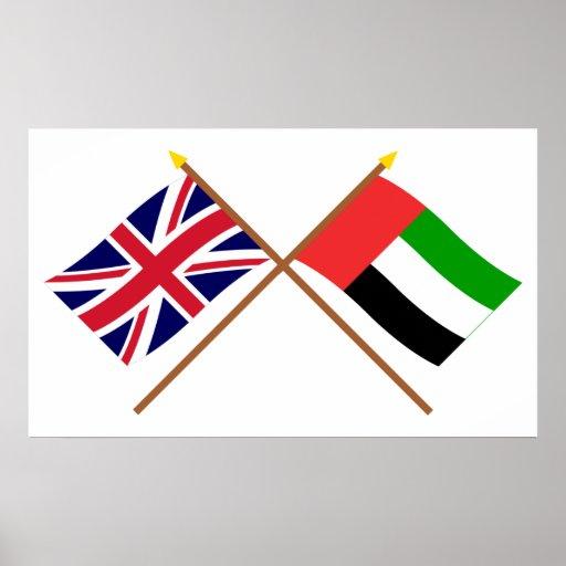 Reino Unido e bandeiras cruzadas United Arab Emira Impressão