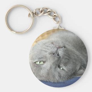 Relaxe! Chaveiro de ronrom cinzento do gato