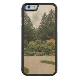 Relaxe em um jardim japonês capa de madeira de bordo bumper para iPhone 6