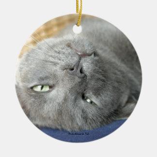 Relaxe! Ornamento cerâmico de ronrom cinzento do