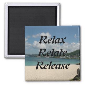 Relaxe, relacione, libere, ímã quadrado