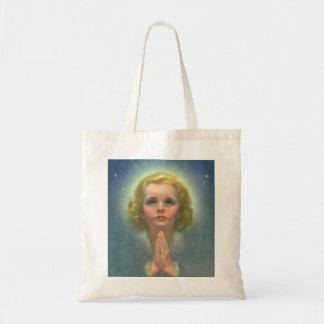 Religião do vintage, criança angélico com Praying Sacola Tote Budget