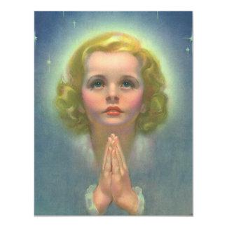 Religião do vintage, menina angélico com Praying Convite 10.79 X 13.97cm