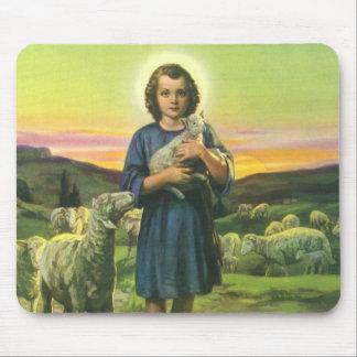 Religião do vintage, menino do pastor com mouse pad