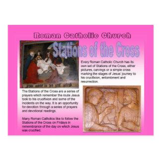 Religião, igreja católica romana, estações da cruz cartoes postais