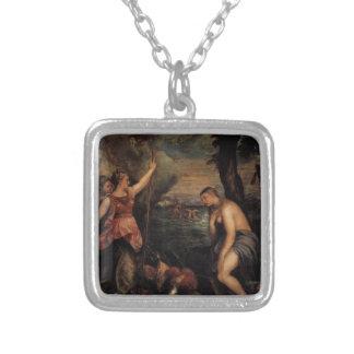 Religião Succouring da espanha por Titian Colar Banhado A Prata