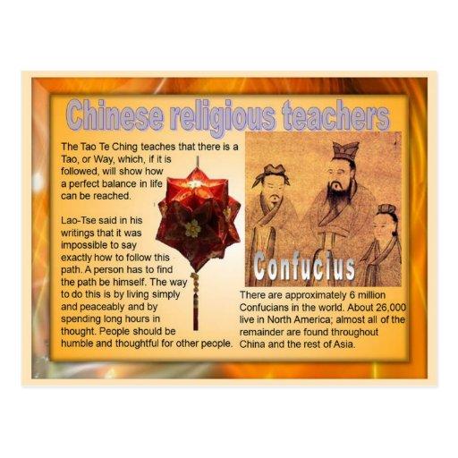 Religiões do mundo, professores religiosos chinese cartoes postais