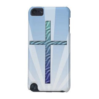 Religioso Cruz-com Sunrays azuis Capa Para iPod Touch 5G