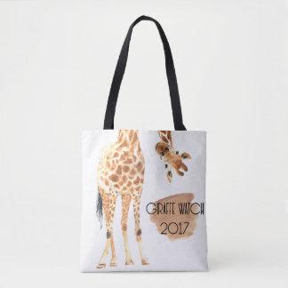 Relógio 2017 do girafa - olhando o o bolsa