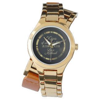 Relógio 50th Numeral romano dourado da esposa do