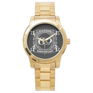 Relógio 60th crista do diamante do aniversário de