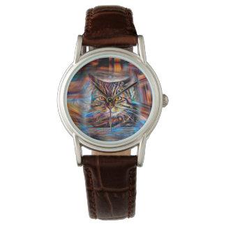 Relógio À deriva no gato abstrato da revolução das cores
