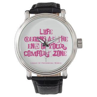 Relógio A vida começa no fim de sua zona de conforto