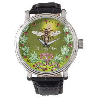 Relógio ABELHA do MEL E amarelo FLORAL VERDE do apicultor