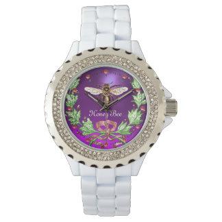Relógio ABELHA do MEL E roxo FLORAL VERDE do apicultor da