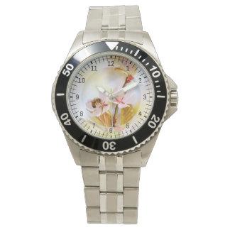 Relógio Abelha em uma flor da cereja