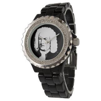 Relógio Abstractamente e Johann Sebastian Bach em preto