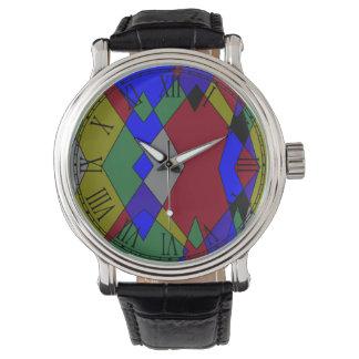 Relógio Abstrato colorido retro do diamante