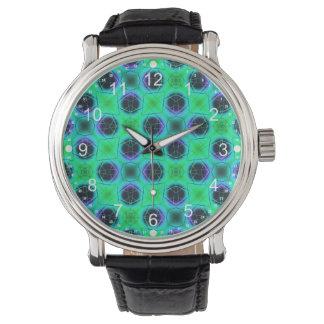 Relógio Abstrato geométrico azul roxo verde