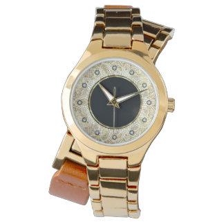 Relógio Acentos do diamante da mandala do círculo do preto