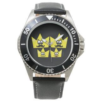 Relógio Aço Inoxidável Couro Preto - Família Gay