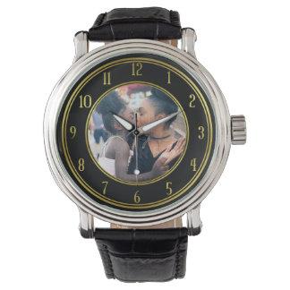 Relógio Adicione seu preto personalizado do ouro da foto |