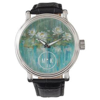 Relógio Adicione sua lagoa do lírio de água do monograma |