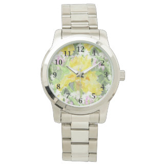 Relógio Aguarela alta amarela da íris farpada