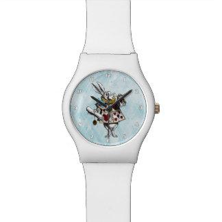 Relógio Alice no coelho do branco do país das maravilhas