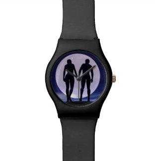 Relógio Amantes novos em a noite - 3D rendem